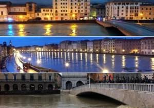 Arno in piena: nella notte a Firenze (sopra) e a Pisa, questa mattina